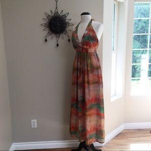 Jessica Simpson Watercolor Halter Maxi Dress